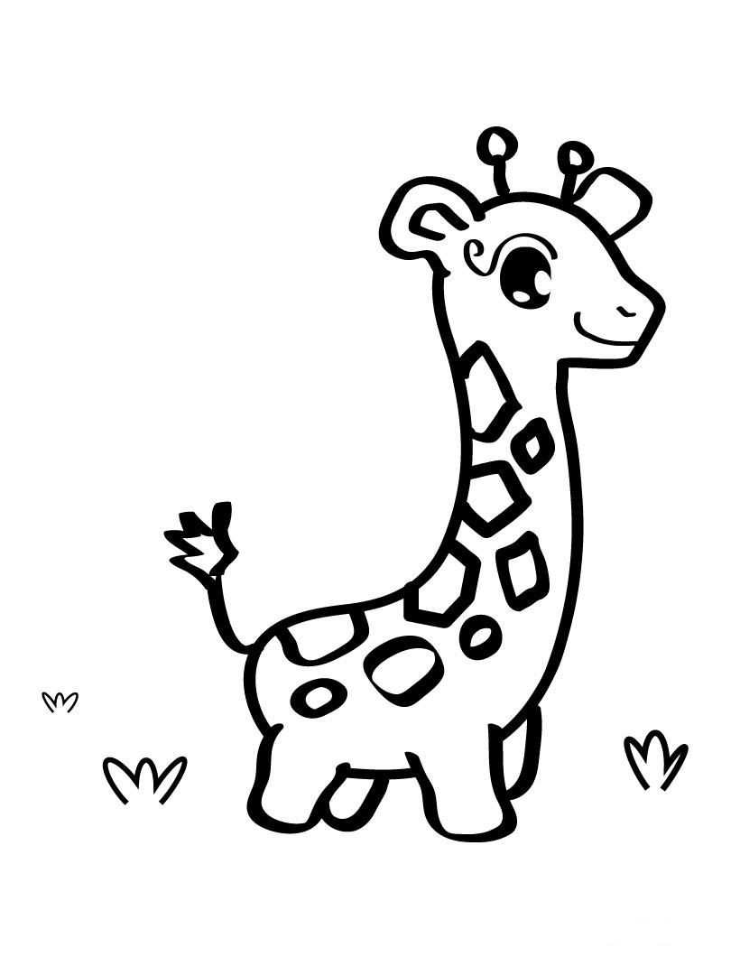 Baby Giraffe Drawing Coloring With Images Giraffe Coloring