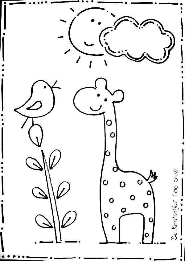 Zonnige Kleurplaat Giraf En Vogeltjes Met Afbeeldingen