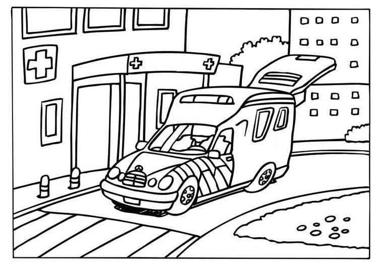 Kleurplaat Ziekenwagen Thema Ziekenwagen Kleurplaten