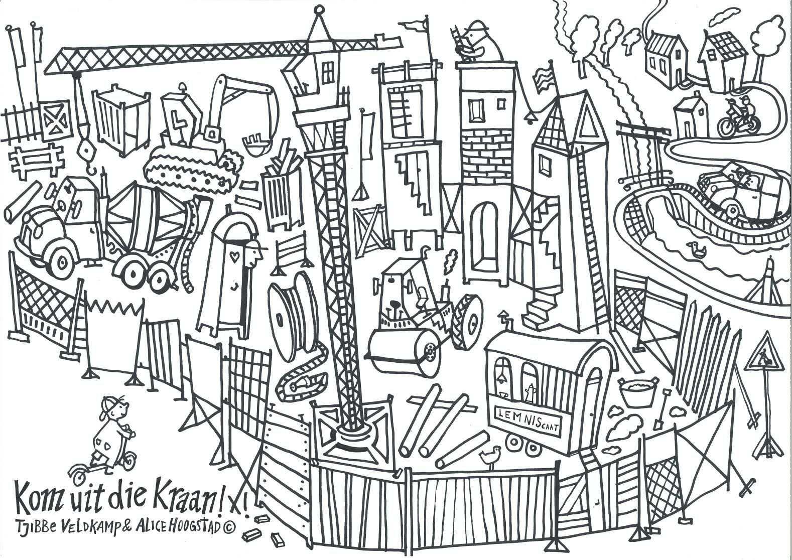 Tjibbe Veldkamp Kinderboekenschrijver Bouw Thema Kleurplaten Bouw
