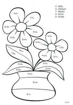 Rekenen Kleurplaat Lente Bloemen Planten Kleurplaten