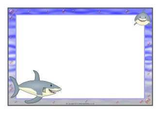 Shark A4 Page Borders Haai Thema Kleurplaten