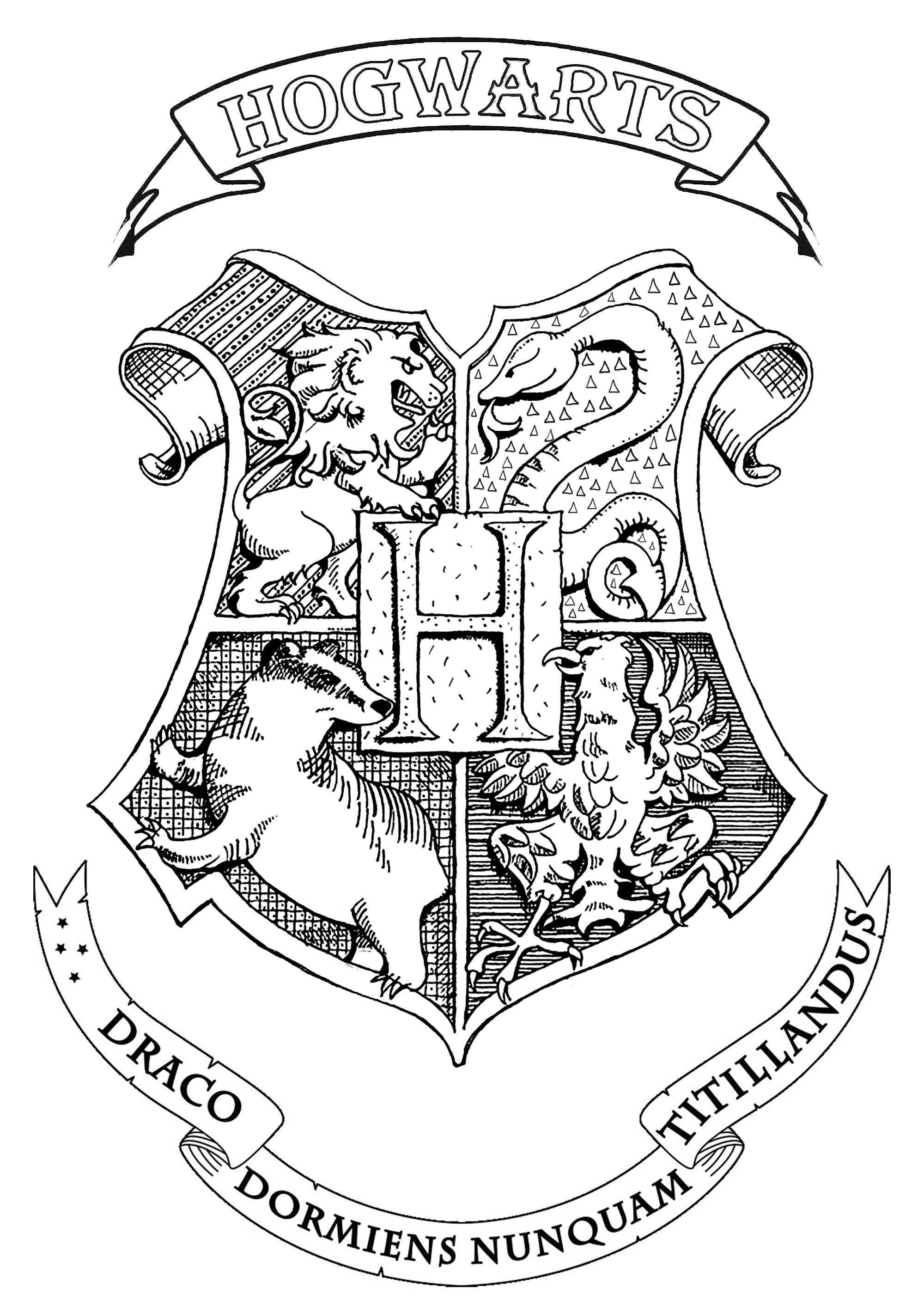 Harry Potter Hogwarts Crest Books And Comics Coloring Pages For