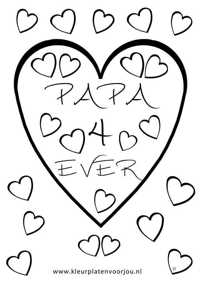 Kleurplaat Hart Valentijn Moederdag Vaderdag Kleurplaten