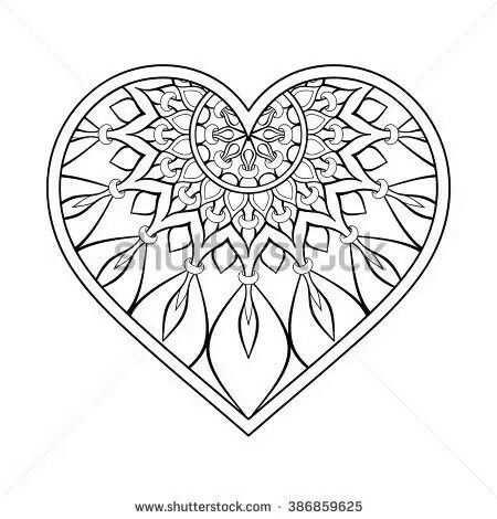 Idee Van Priscilla Korte Op Hearts Mandala Kleurplaten