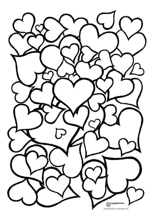 Kleurplaat Hartjes Kleurplaten Valentijnen Adult Coloring Pages
