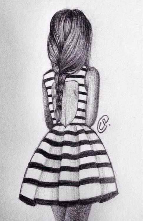 Girl Fashion Dress Drawing Stripes Eenvoudige Tekeningen Meiden