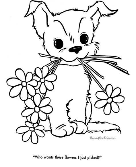 Dog Color Pages Printable Cute Puppy Pictures To Color 085
