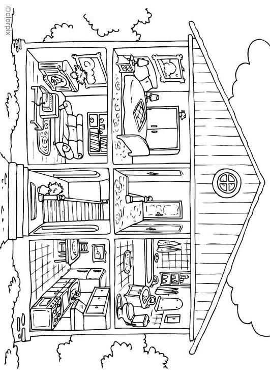 Kleurplaat Huis Coloriage Maison Coloriage Maison Dessin