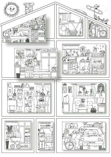 Coloring Pages Of The Rooms In A House Kleurplaten Taal Thema