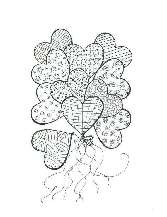 Drawing For Coloringbouquet Of Heart Balloonscolor In By Mylines
