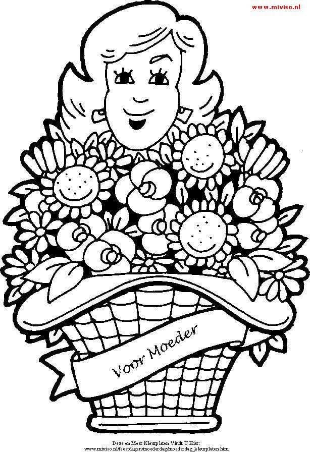 Kleurplaat Van Een Grote Mand Vol Bloemen Voor Moederdag Mom