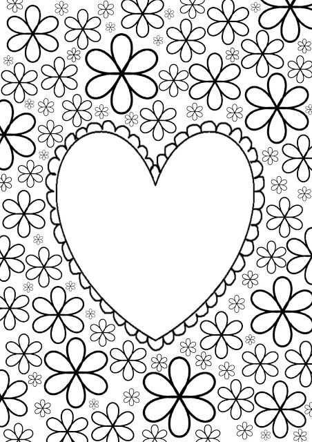 Kleurplaat Hart Moederdagideeen Valentijnen
