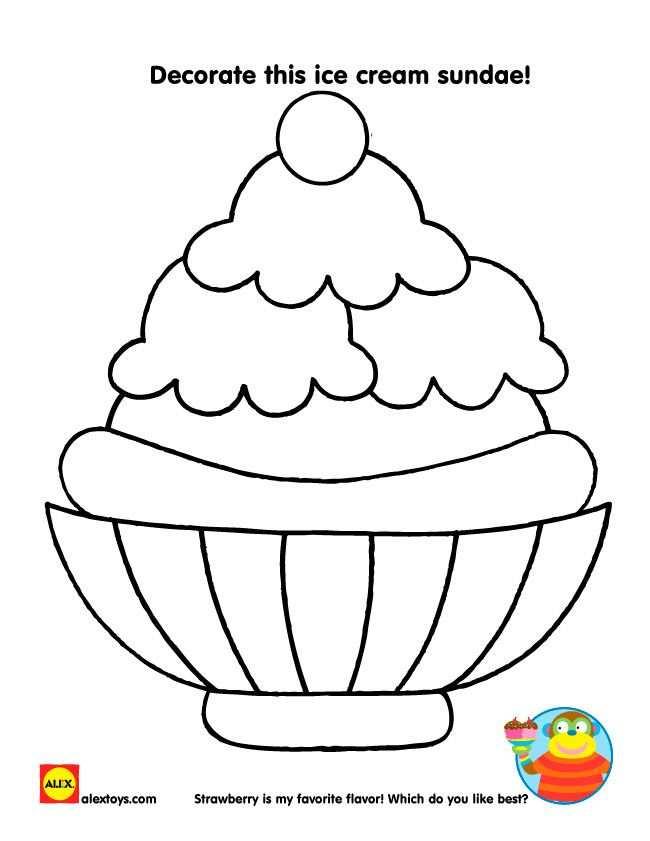Printable Summer Activities Ice Cream Coloring Pages