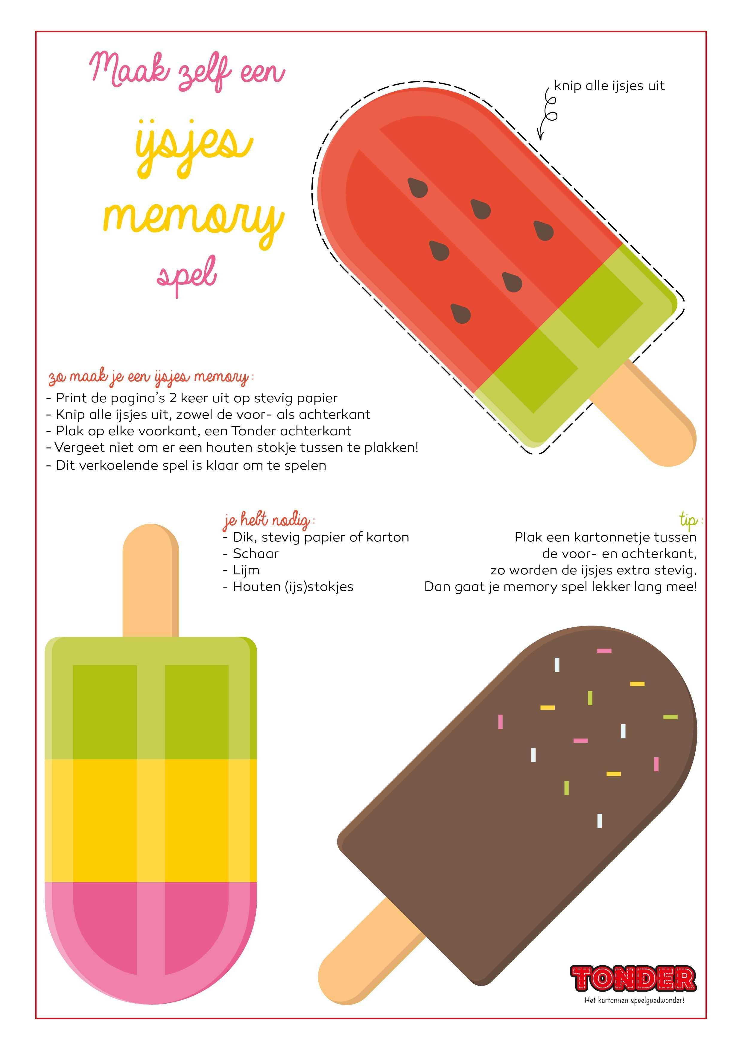 Maak Zelf Een Ijsjes Memory Spel De Instructies Deel 1 Thema