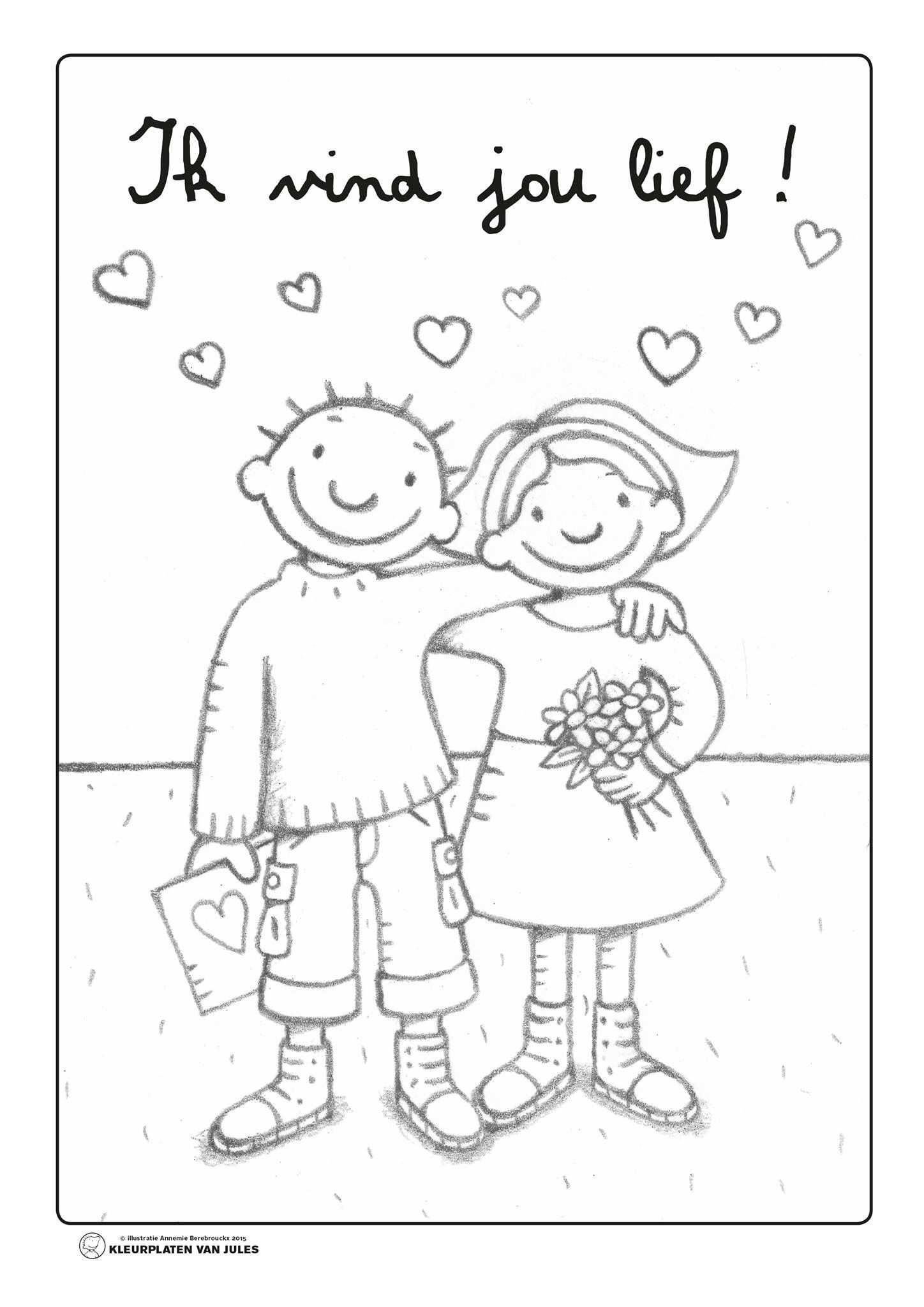 Pin Van Annemarie Dees Op Valentijn Kids Kleurplaten