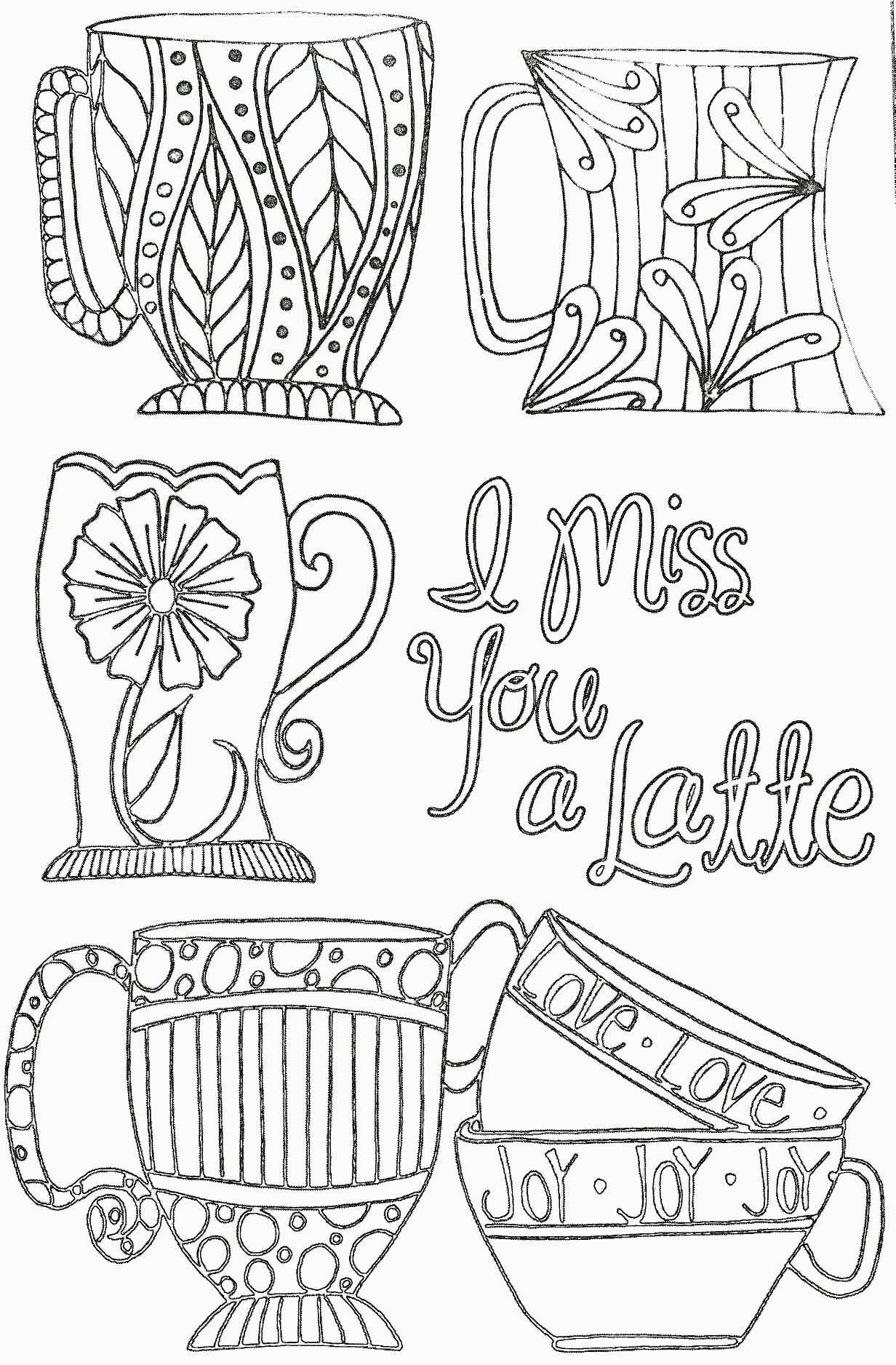 I Miss You A Latte Inkspirations Adult Coloring Page