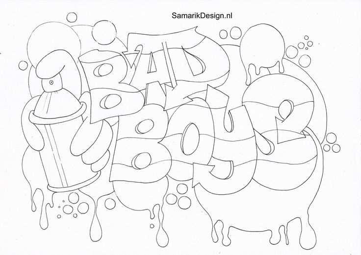 Kleurplaat Voor Volwassenen Bad Boy With Images Graffiti