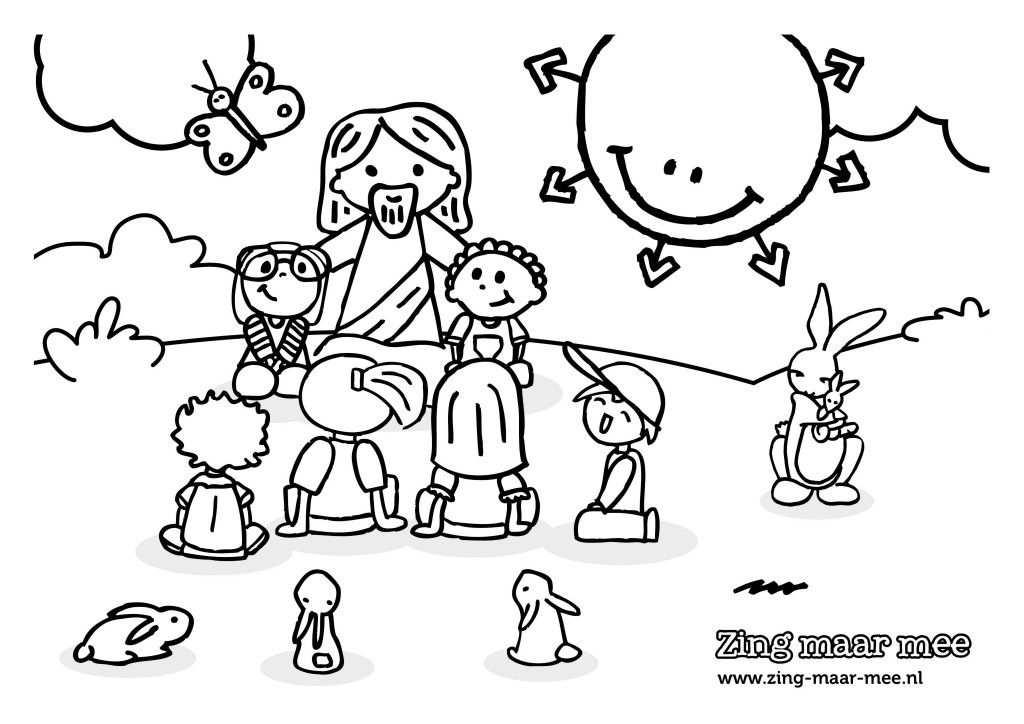 Kleurplaat Jezus Houdt Van Alle Kinderen Met Afbeeldingen