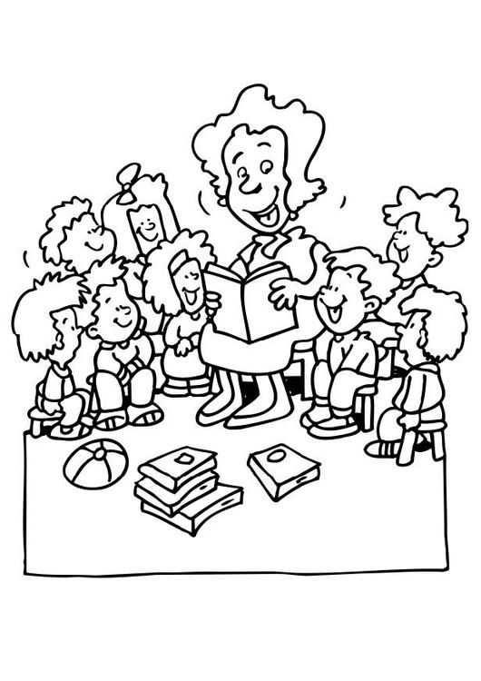 Kleurplaat Juf Vertelt Kinderen Leren Terwijl Ze Kleuren