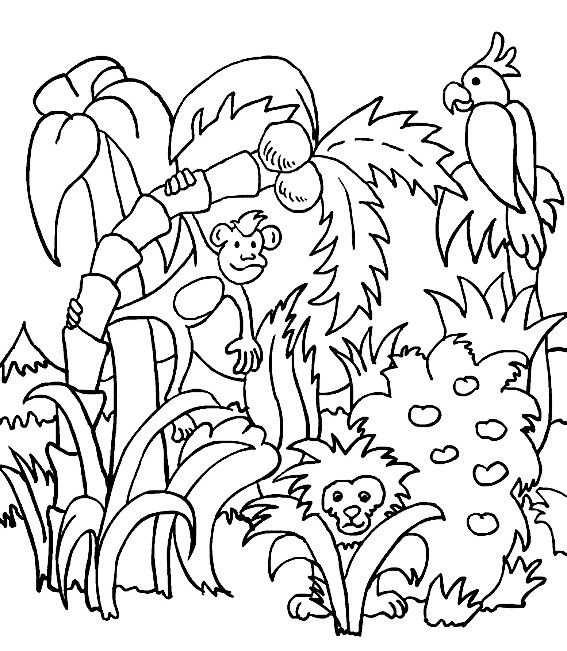 kleurplaat jungle planten