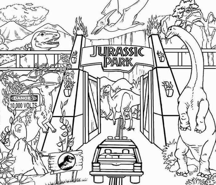 Free Jurassic Park Coloring Pages With Images Dinosaur