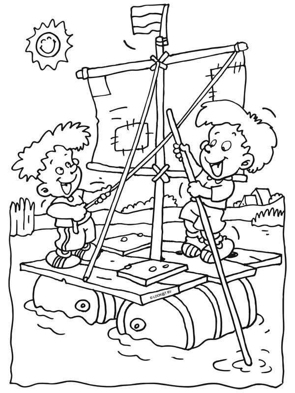 Kleurplaat Kinderen Op Een Zelfgemaakt Vlot Kleurplaten Nl