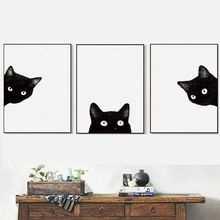 Azqsd Moderne Kunst Poster Zwarte Katten Hoofd Moderne Leuke Dier