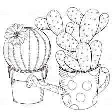 Kleurplaat Cactus In Pot Google Zoeken Kleurplaten Tangle