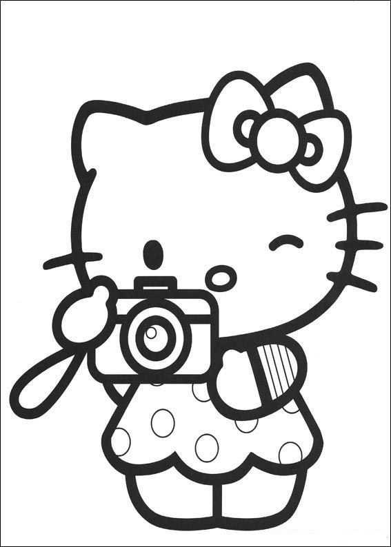Kleurplaat Hello Kitty Camera With Images Hello Kitty