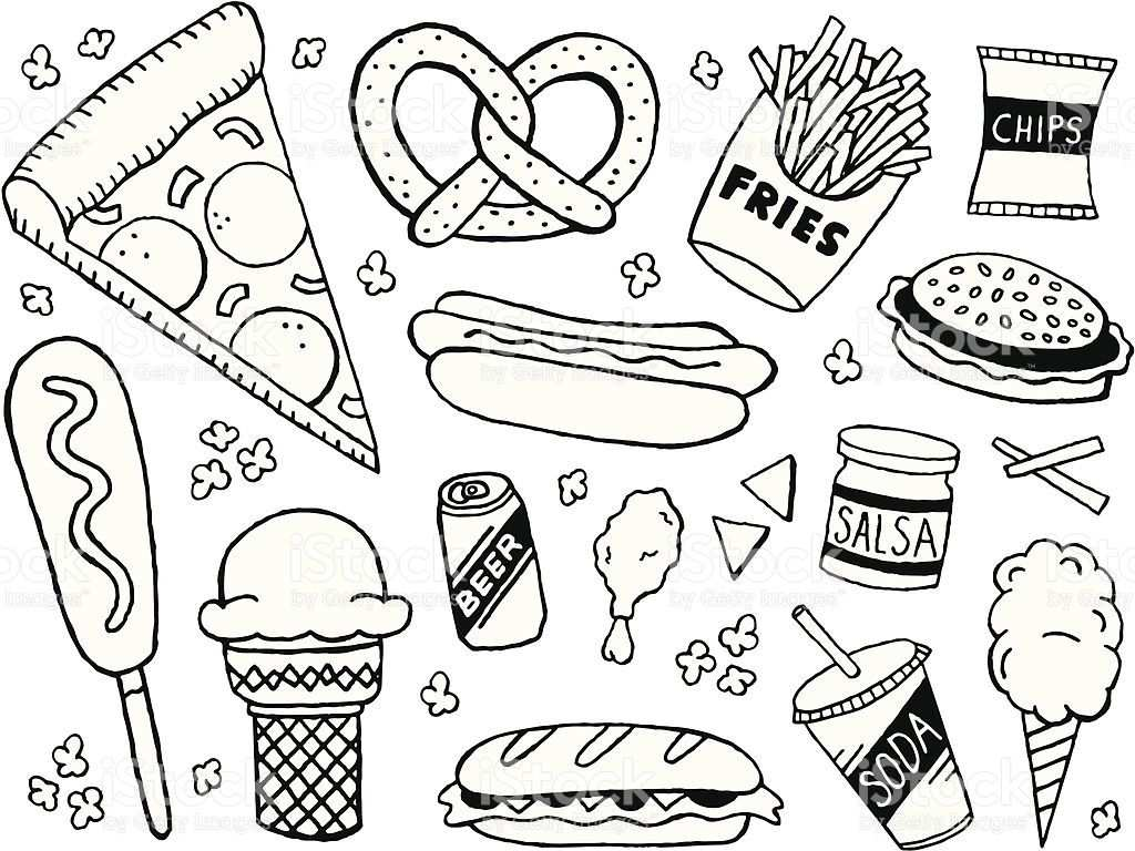 Junk Food Doodles Royalty Free Stock Vector Art Doodle Pages