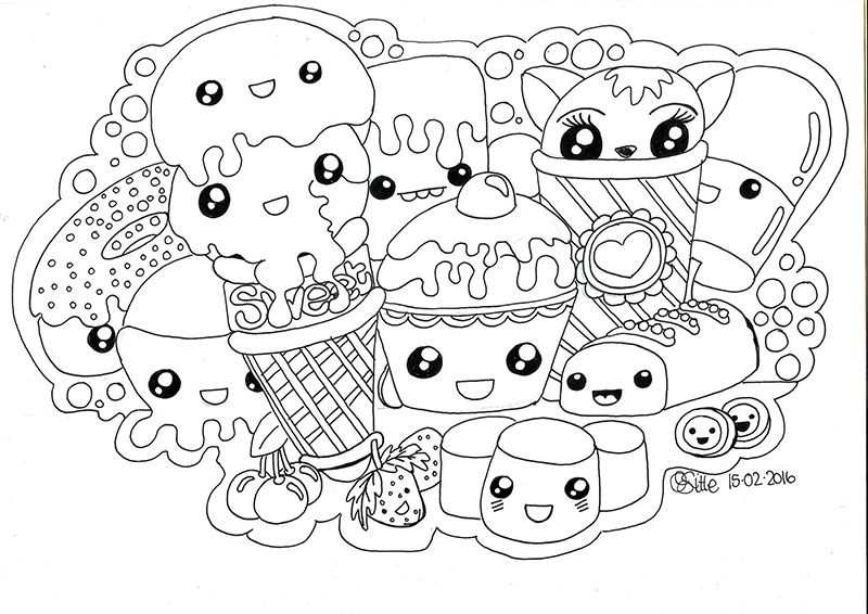 Kawaii Sweets Doodle Kawaii Lukisan Seni