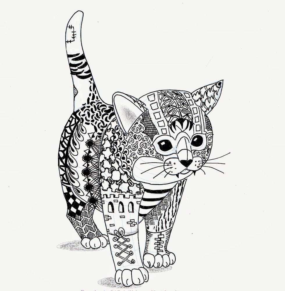 Kitten Van Ben Kwok Kleurplaten Adult Coloring Pages Mandala