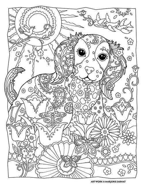 Marjorie Sarnat Design Illustration Puppy Dog Pet Flowers