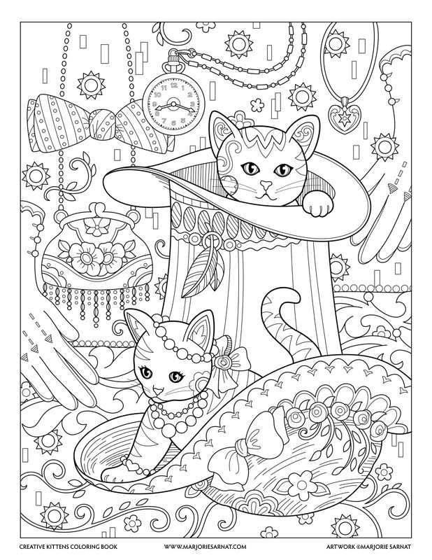 Top Hat Creative Kittens Coloring Book By Marjorie Sarnat Met