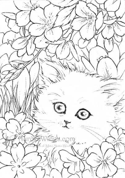 White Kitten In Flowers By Mitzi Sato Wiuff Coloring Pages