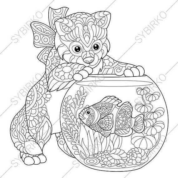 Coloring Pages For Adults Cat Fish Kitten Goldfish Clownfish