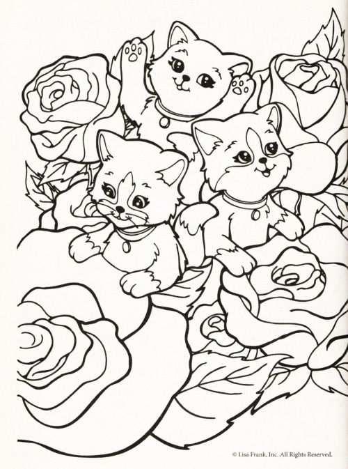 Kleurplaat Poezen Tussen Rozen Lisa Frank Coloring Books