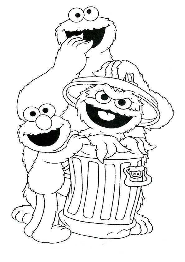 Print Koekiemonster Oscar En Elmo Kleurplaat Kleurplaten