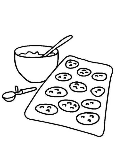 Kleurplaat Koekjes Bakken Koken Kinderen Leren Terwijl Ze