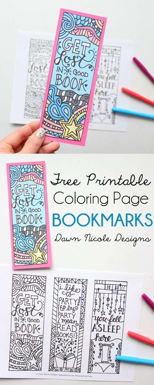 Free Printable Coloring Page Bookmarks Boekenleggers