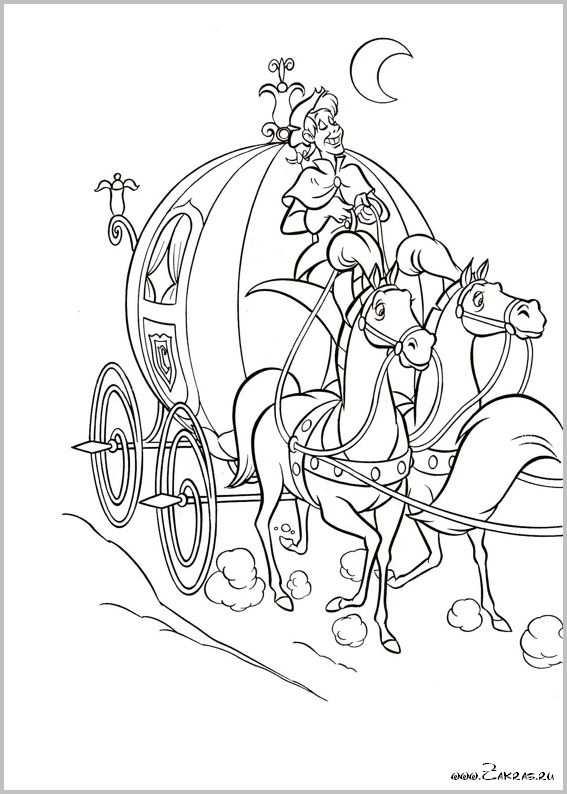 27 De Koets Met Zijn Trekpaarden Kleurplaten Sprookjes Disney