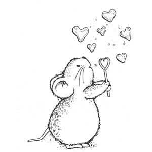 Mouse Blowing Heart Bubbles Kleurplaten Dieren Tekenen