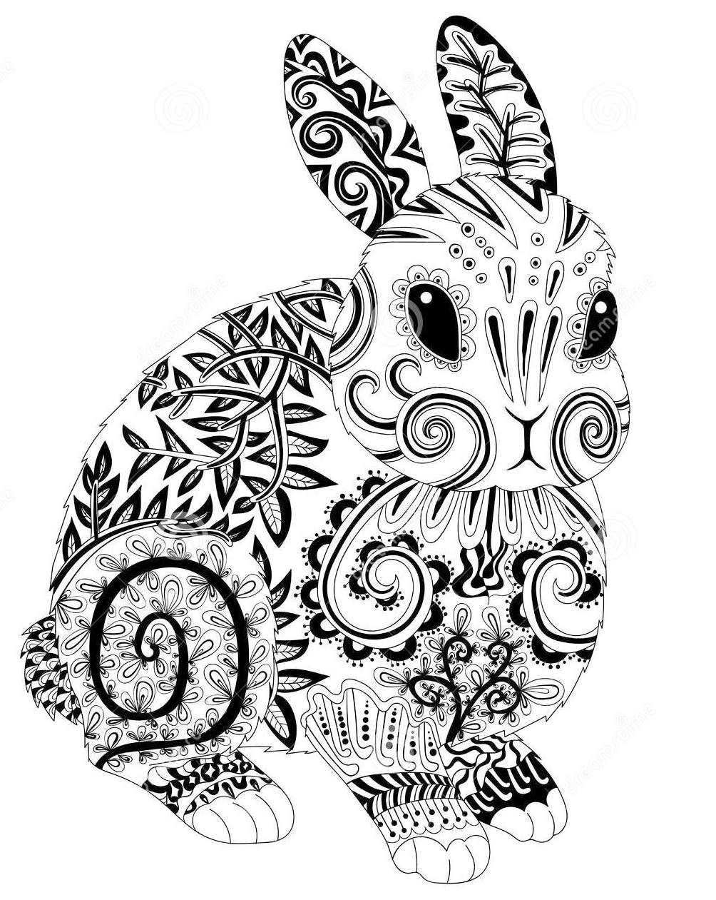 The Cute Rabbit Zentangle Coloring Book Coloring Book Art