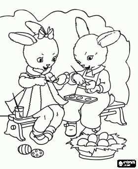 Een Paar Konijntjes Zijn Schilderen Eieren Voor Pasen Kleurplaat