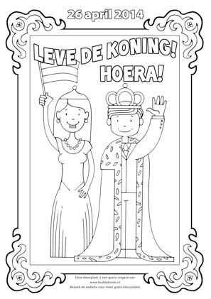 Koningdsdag Kleurplaat Met Koning Willem Alexander Koningin