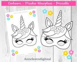 Eenhoorn Masker Kleurplaat Gratis Printable Masque Licorne Deco