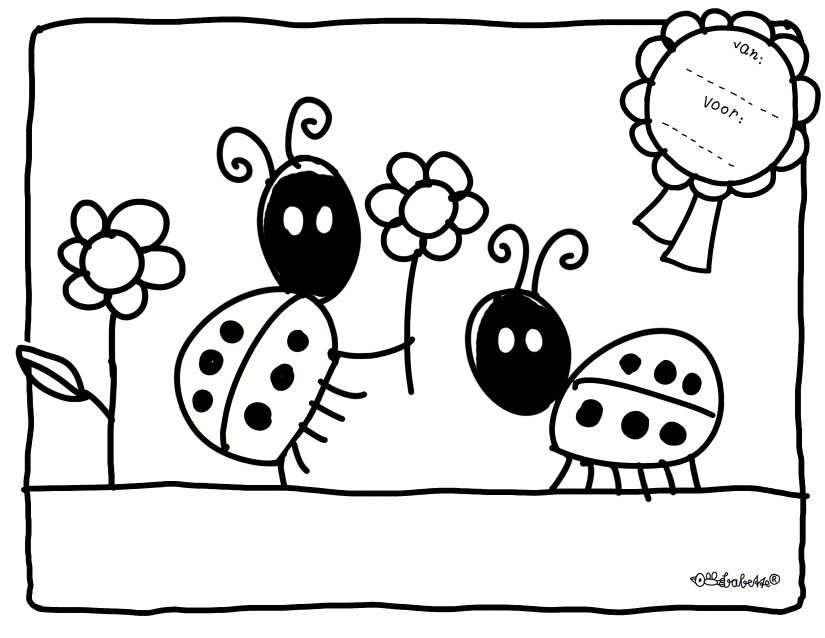 Kleurplaat Babette Harms Ladybug Coloring Pages Diy Gifts