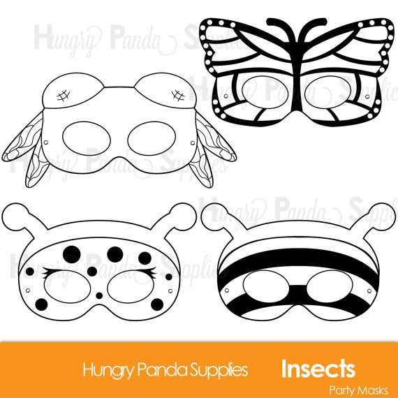 Insects Printable Coloring Masks Insect Masks Ladybug Mask Bee