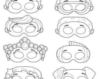 Mermaid Printable Coloring Masks Fish Mask Puppy Mask Dog Mask